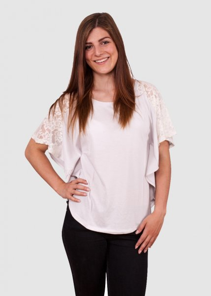 Lace Cape Tee Chalk Grey from Greenality