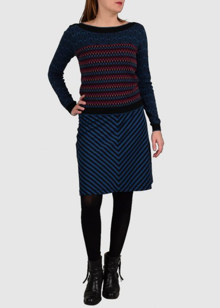 Border Skirt Long Two Tone Stripe Storm Blue from Greenality