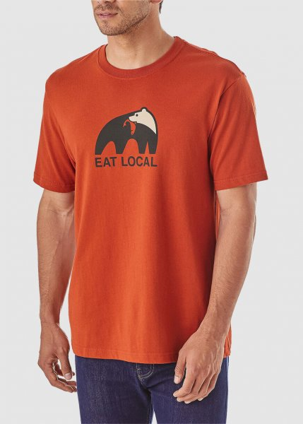 Men's Eat Local Upstream Cotton T-Shirt Roots Red from Greenality