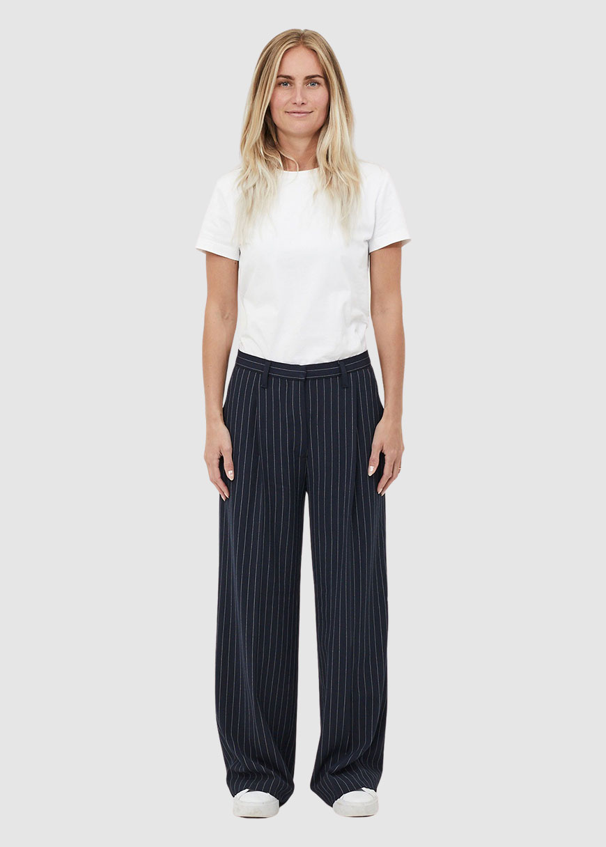 Posey Pin Strip Wide Pants from Greenality