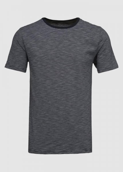 Short Sleeve Striped T-Shirt Cotton Slub Total Eclipse from Greenality