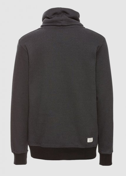 Männer Sweatshirt Tube Collar Checked Anthracite Black Checked from Greenality