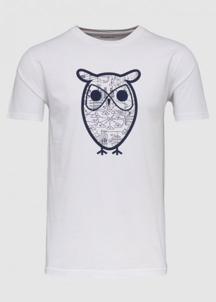 T-Shirt With Diagram Owl Print Bright White from Greenality