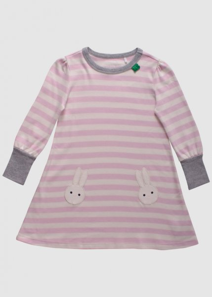 Bunny Stripe Dress Baby Rose from Greenality