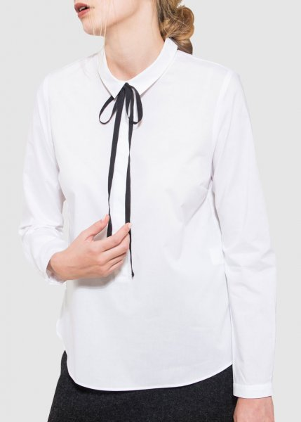 Popelinebluse White from Greenality