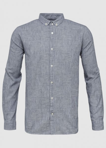 Big Checked Co Linen Shirt Total Eclipse from Greenality