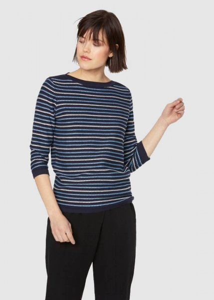 Olia Stripes Navy-Off White-Spring Blue from Greenality