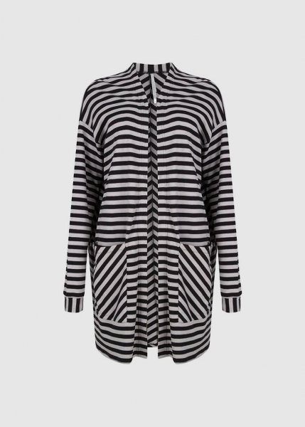Oversized Cardigan Black Grey Stripe from Greenality