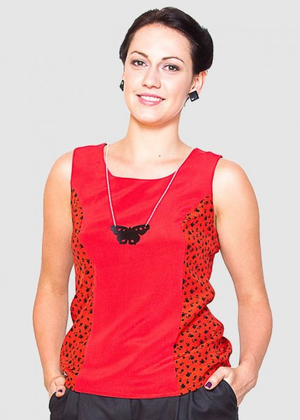 Milano Top Red/Patterned Red from Greenality