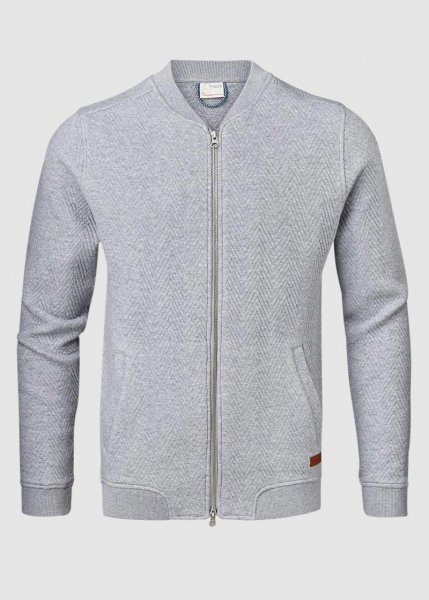 Quilted Zip Cardigan Grey Melange from Greenality