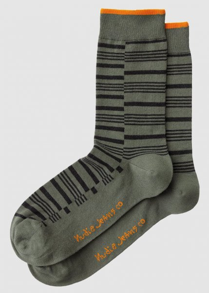 Olsson Broken Stripe Socks Grass from Greenality